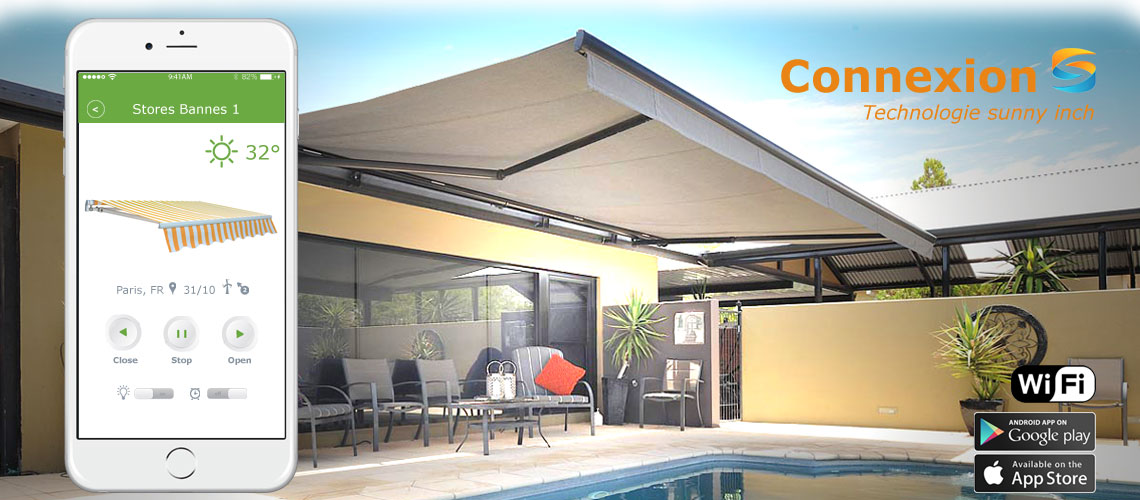 store banne sunny inch exterior sun setter retractable awning with how much is a retractable. Black Bedroom Furniture Sets. Home Design Ideas