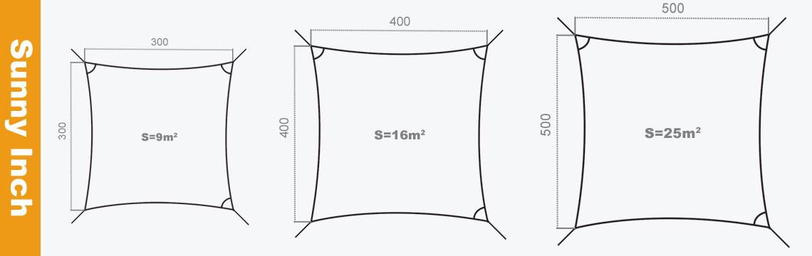 mesure voiles d'ombrage carées sunny inch